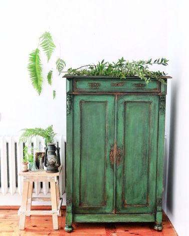 muebles restaurado verde