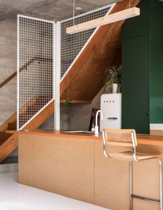 escalera con hormigon visto y madera 2