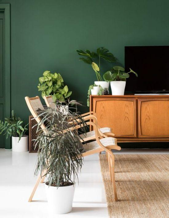 salon pared verde