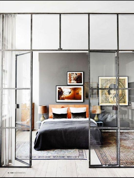 pared de cristal dormitorio