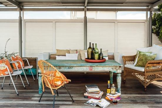 mimbre y muebles reciclados